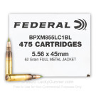 5.56x45 - 62 Grain FMJ XM855 - Federal American Eagle - 475 Rounds