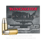 9mm - 147 Grain JHP - Winchester Silvertip - 20 Rounds