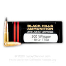 300 AAC Blackout - 110 Grain TTSX - Black Hills - 20 Rounds