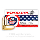 45 ACP - 230 Grain FMJ - Winchester USA Target Pack - 500 Rounds