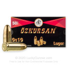 9mm - 124 Grain FMJ - Özkursan - 50 Rounds **Steel Case**