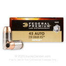 45 ACP  - 230 gr HST JHP - Federal Premium Law Enforcement - 50 Rounds