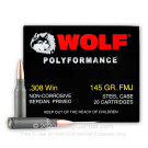 308 - 145 Grain FMJ - Wolf WPA Polyformance - 500 Rounds