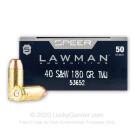 40 S&W - 180 Grain TMJ - Speer LAWMAN - 1000 Rounds