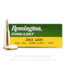 243 - 100 gr PSP - Remington Core-Lokt - 20 Rounds