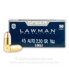 45 ACP - 230 gr TMJ - Speer LAWMAN - 50 Rounds