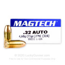 32 ACP - 71 Grain FMJ - Magtech - 50 Rounds