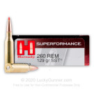 260 Rem - 129 Grain SST - Hornady Superformance - 20 Rounds