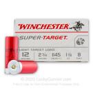"""12 ga - 2-3/4"""" Lead Shot Target Load - 1-1/8 oz - #8 - Winchester Super Target - 250 Rounds"""