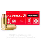 40 S&W - 180 gr FMJ - Federal American Eagle - 50 Rounds