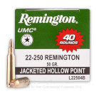 22-250  - 50 gr JHP - Remington UMC - 40 Rounds