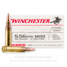 5.56x45 - 55 Grain FMJ M193 - Winchester USA - 20 Rounds
