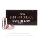 45 GAP - 185 Grain JHP - Speer Gold Dot - 50 Rounds