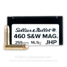 460 S&W Mag - 255 Grain JHP - Sellier & Bellot - 20 Rounds