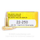22-250 - 36 Grain Varmint Grenade HP - Black Hills Gold - 20 Rounds
