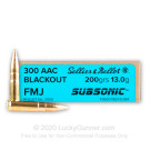300 AAC Blackout - Subsonic 200 Grain FMJ - Sellier & Bellot - 20 Rounds
