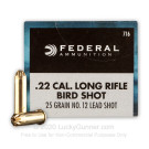 22 LR - 25 Grain #12 Shot - Federal Game-Shok - 500 Rounds