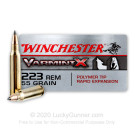 223 Rem - 55 Grain Polymer Tip - Winchester Varmint X - 20 Rounds