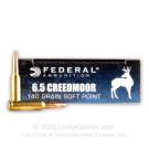 6.5 Creedmoor - 140 Grain SP - Federal Power Shok - 20 Rounds