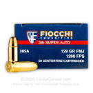 38 Super - 129 gr FMJ - Fiocchi - 1000 Rounds