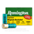 "12 Gauge - 3"" 15 Pellets 00 Buckshot - Remington Express Magnum - 75 Rounds"