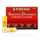 "20 Gauge - 2-3/4"" 7/8oz. #8 Shot - Fiocchi - 250 Rounds"