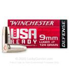 9mm - +P 124 Grain JHP - Winchester USA Ready Defense - 20 Rounds