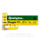 "20 Gauge - 2-3/4"" 5/8oz. HP Rifled Slug - Remington Slugger - 250 Rounds"
