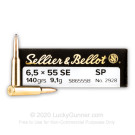 6.5x55mm Swedish - 140 Grain SP - Sellier & Bellot - 20 Rounds