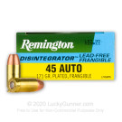 45 ACP - 175 Grain Plated Frangible - Remington Disintegrator - 50 Rounds