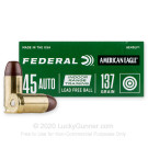 45 ACP - 137 Grain Lead Free Flat Nose Ball Ammo - Federal American Eagle Indoor Range Training - 50 Rounds