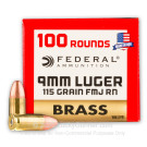 9mm - 115 Grain FMJ RN - Federal Champion Brass - 500 Rounds