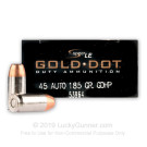 45 ACP - 185 Grain Jacketed Hollow Point – Speer Gold Dot - 50 Rounds