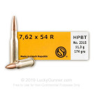 7.62x54R - 174 gr HPBT Sierra Match King - Sellier & Bellot - 20 Rounds