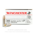 38 Super - +P 130 Grain FMJ - Winchester - 50 Rounds