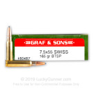 7.5x55 Swiss - 165 Grain BTSP - Graf & Sons loaded by Hornady - 20 Rounds