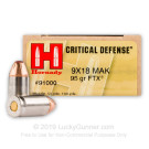 9mm Makarov - 95 Grain FTX - Hornady Critical Defense - 25 Rounds
