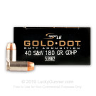 40 S&W - 180 gr JHP - Speer Gold Dot - 1000 Rounds