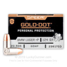 9mm - +P 124 Grain JHP - Speer Gold Dot - 200 Rounds