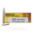 300 Winchester Magnum - 180 Grain TSX HP - Black Hills Gold - 20 Rounds