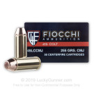 45 Long Colt - 255 Grain CMJ - Fiocchi Pistol Shooting Dynamics - 50 Rounds