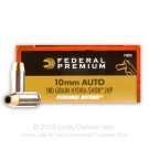 10mm Auto - 180 Grain Hydra-Shok JHP - Federal Premium - 500 Rounds