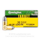38 S&W - 146 Grain LRN - Remington Target - 50 Rounds