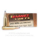 243 - 80 gr Tipped Triple-Shock X Hollow Point - Barnes VOR-TX - 20 Rounds