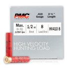 """410 Gauge - 2-1/2"""" 1/2oz. #8 Shot - PMC High Velocity Hunting Load - 250 Rounds"""