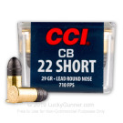 22 Short - 29 gr LRN - CCI CB Subsonic - 100 Rounds