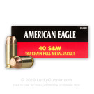 40 S&W - 180 Grain FMJ - Federal American Eagle - 1000 Rounds