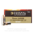 9mm - 147 gr Hydra-Shok JHP - Federal Law Enforcement - 1000 Rounds