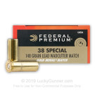 38 Special - 148 gr Lead Wadcutter Match - Federal Gold Medal - 1000 Rounds