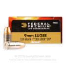 9mm - 124 gr Hydra-Shok JHP - Federal Law Enforcement - 1000 Rounds